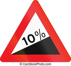 Warning road sign used in Denmark - Steep hill upward