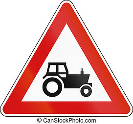 Warning Road sign used in Malta - Tractors
