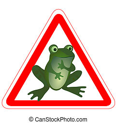 Warning road sign with a funny frog
