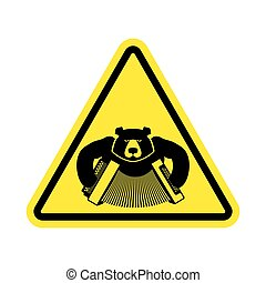 Warning Russia. bear with accordion with yellow triangle. Road sign attention to Russians