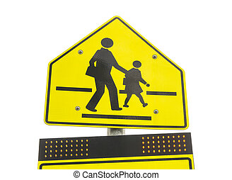 warning school zone sign  isolated on white background
