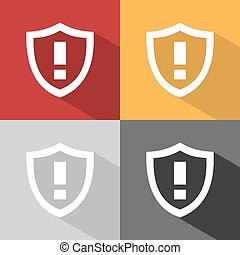 Warning shield icon with shade on colored background