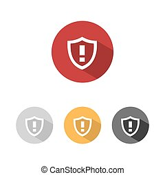 Warning shield icon with shade on colored buttons