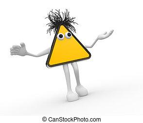 Warning sign - 3d Blank yellow hazard warning sign