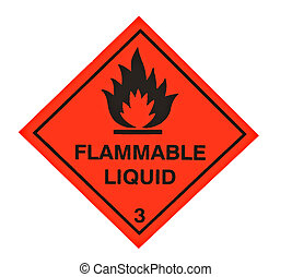 A red diamond shaped sign warning of flammable liquid