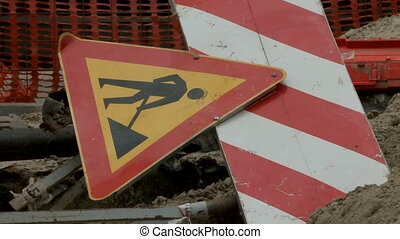 warning sign and construction site