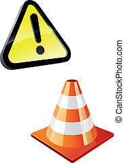 Warning sign and traffic cone