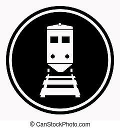 Warning sign attention train symbol black circle on white ...
