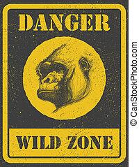 warning sign. danger signal with gorilla. eps 8