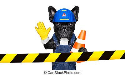 warning sign dog - worker dog with helmet behind warning...