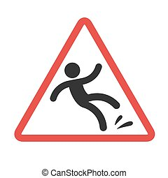 Warning sign falling