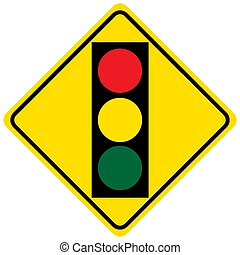 Warning sign for a traffic light on white background