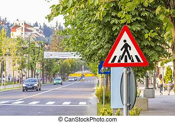 warning sign for pedestrian crossing - Zebra crossing,...