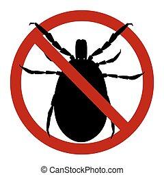 Warning sign. harvest bug in a red circle. illustration