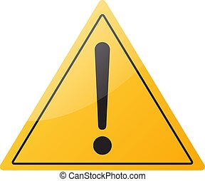 Warning sign icon, isolated on white background, vector illustration.