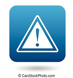 Warning sign icon, simple style