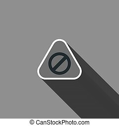 Warning sign icon with long shadow. Vector illustration