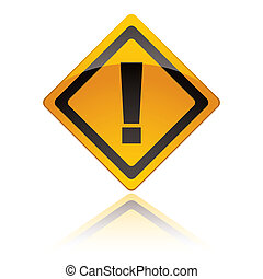 Yellow warning sign icon with exclamation mark with reflection