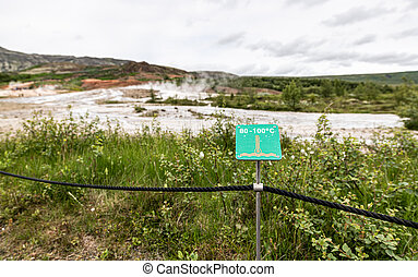 Warning Sign in Haukadalur geothermal, Iceland - High ...