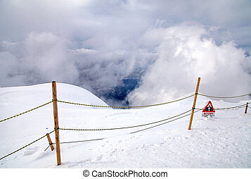 Warning sign in Swiss Alps mountain - Warning sign in high...