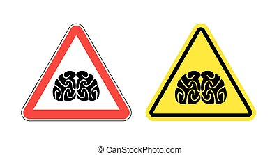Warning sign of attention to think. Hazard yellow sign brain drain. Silhouette head brain on red triangle. Set Road signs.