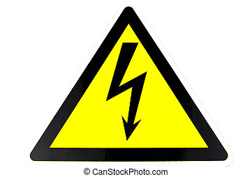 Warning sign of danger of electricity. Arrow on a yellow background.