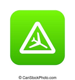 Warning sign of low flying aircraft icon digital green