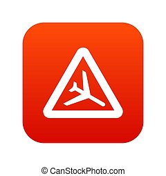 Warning sign of low flying aircraft icon digital red