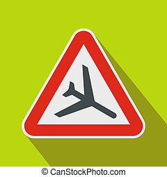Warning sign of low flying aircraft icon