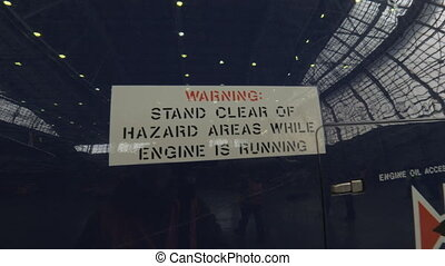 Warning sign on a jet plane