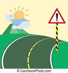 warning road sign on dangerous steep