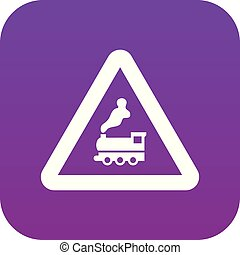 Warning sign railway crossing without barrier icon digital ...