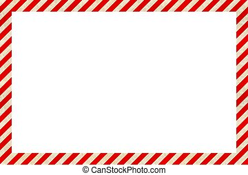 Warning sign red and white stripes frame, industrial background