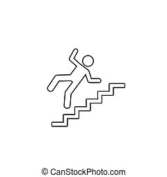 Warning sign risk falling stairs. Vector line icon flat