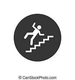 Warning sign - risk of falling of the stairs. Vector white icon