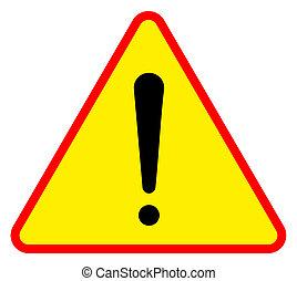 Warning sign - Yellow triangular warning sign, isolated on...