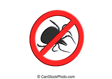 Warning sign symbol for Tick free Zone - Tick symbol crossed...