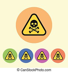Warning sign vector flat style round colored icons