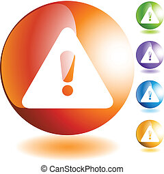 Warning Sign - Warning sign web button isolated on a ...