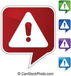 Warning Sign - Warning sign web button isolated on a...