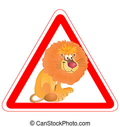 Warning sign with a funny Lion