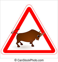 Warning sign with a funny Ox