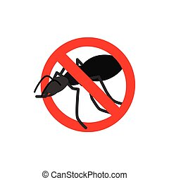 Warning sign with black ant icon