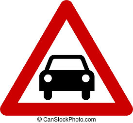 Warning sign with car