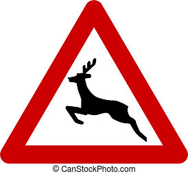 Warning sign with deers on road