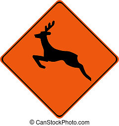 Warning sign with deers on road symbol