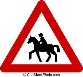 Warning sign with equitation symbol