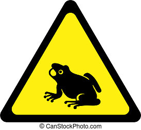Warning sign with frogs on road