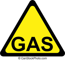 Warning sign with gas text