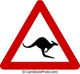 Warning sign with kangaroos on road